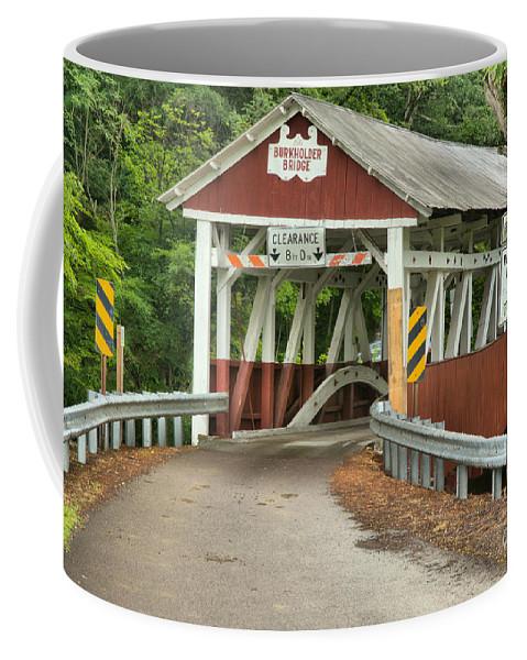 Burkholder Covered Bridge Coffee Mug featuring the photograph Bridge Through The Somerset Forest by Adam Jewell