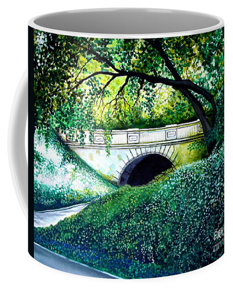 Landscape Coffee Mug featuring the painting Bridge To New York by Elizabeth Robinette Tyndall