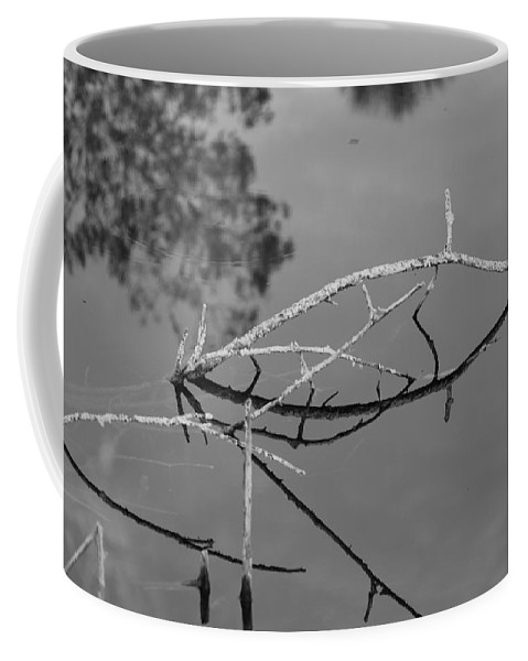 Black And White Coffee Mug featuring the photograph Bridges In Wood by Rob Hans