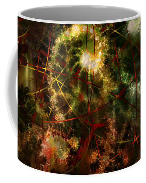 Abstract Coffee Mug featuring the digital art Bridges To Inner Sanctums by Stephen Lucas