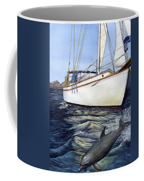Sailing Coffee Mug featuring the painting Brief Encounter by Catherine G McElroy
