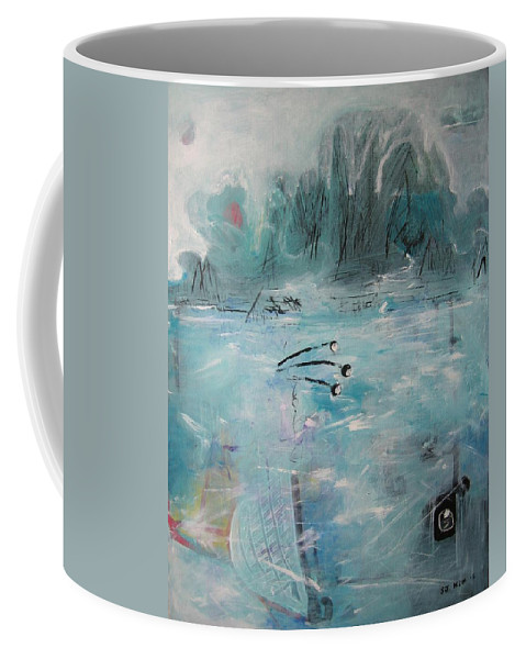 Abstract Paintings Coffee Mug featuring the painting Brierly Beach by Seon-Jeong Kim
