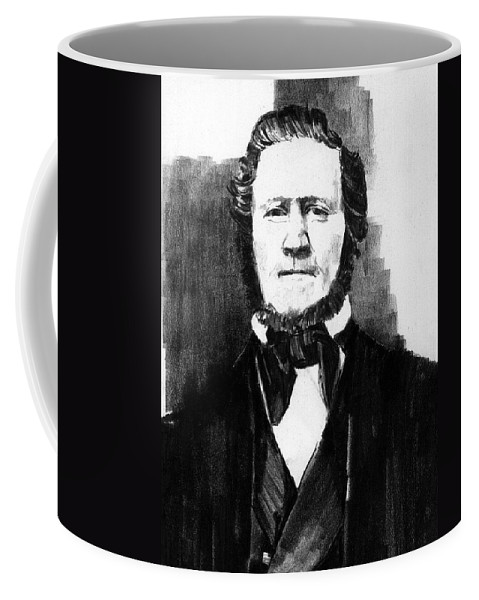 Men Coffee Mug featuring the drawing Brigham Young by Paul Sachtleben