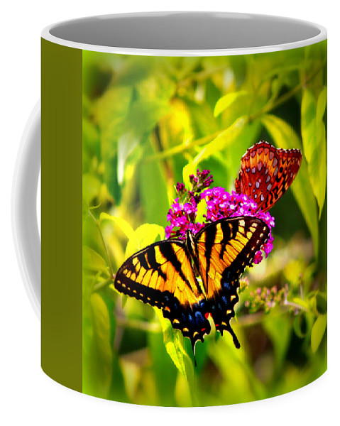 Butterfly Coffee Mug featuring the photograph Bright Butterflies by Tina Meador