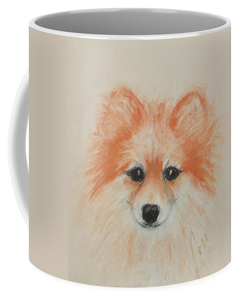 Pomeranian Coffee Mug featuring the drawing Bright Eyes by Cori Solomon