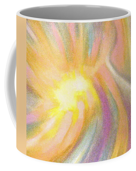 Pastel Drawing Colors Abstract Coffee Mug featuring the drawing Bright Light Flight by Jan Gilmore