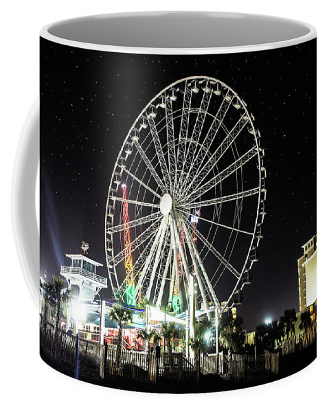 Myrtle Beach Coffee Mug featuring the photograph Bright Lights by Maria Daskalis