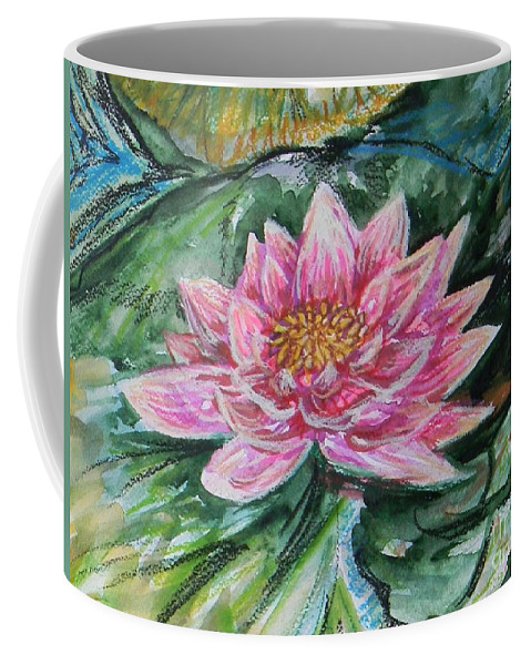 Flower Coffee Mug featuring the mixed media Bright Pink Waterlily by Emily Michaud