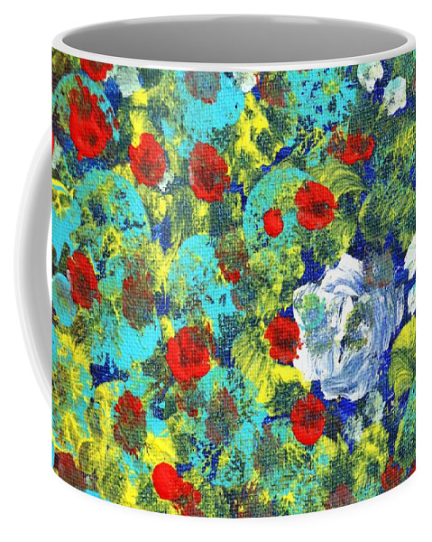 Abstract Coffee Mug featuring the painting Bright Roses by Pam Roth O'Mara