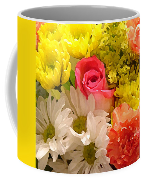 Floral Coffee Mug featuring the painting Bright Spring Flowers by Amy Vangsgard