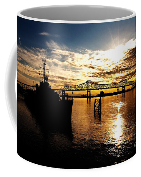 Sunset Coffee Mug featuring the photograph Bright Time On The River by Scott Pellegrin