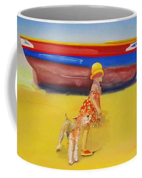 Wire Haired Fox Terrier Coffee Mug featuring the painting Brightly Painted Wooden Boats With Terrier And Friend by Charles Stuart