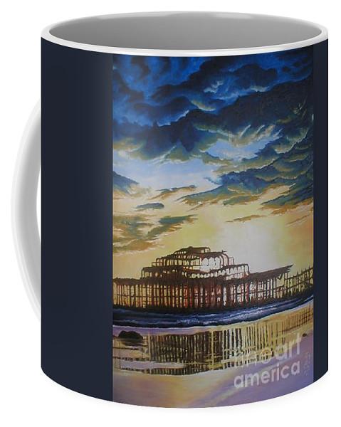 Brighton West Pier Derelict Victorian Sad Beach Sand Sunset Coffee Mug featuring the painting Brighton West Pier by Pauline Sharp