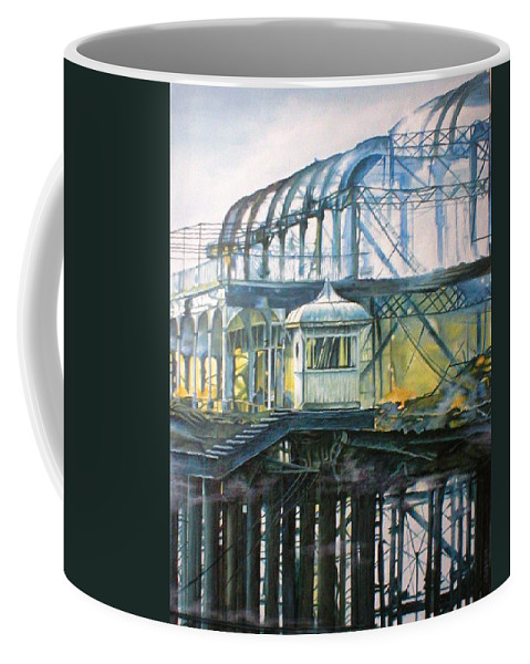 Brighton West Pier Fire Flames Escape Smoke Hut Survivor Arson Coffee Mug featuring the painting Brighton's West Pier-lone Survivor by Pauline Sharp