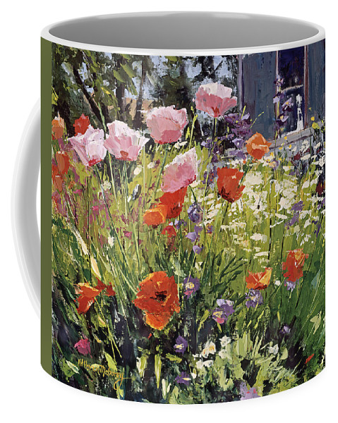 Floral Coffee Mug featuring the painting Brilliant Garden by Kit Hevron Mahoney