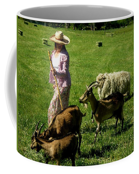 Western Landscape Coffee Mug featuring the painting Bringing Home The Flock by Anastasia Savage Ealy