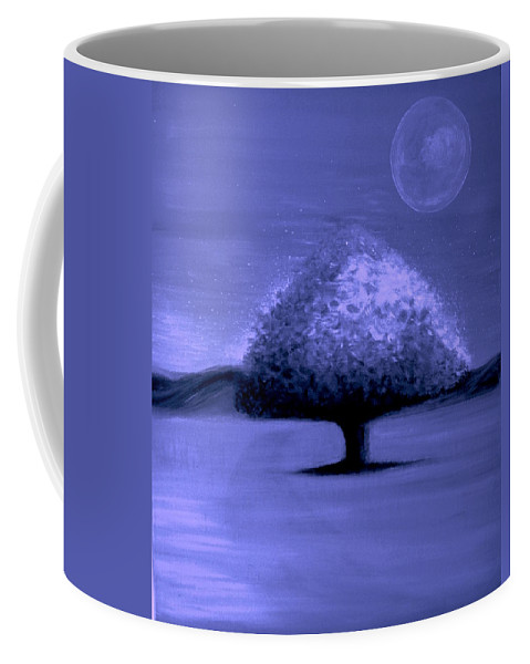 Original Oil Painting On Canvas Coffee Mug featuring the painting Brisk Silver Moon by Rolly Mouchaty