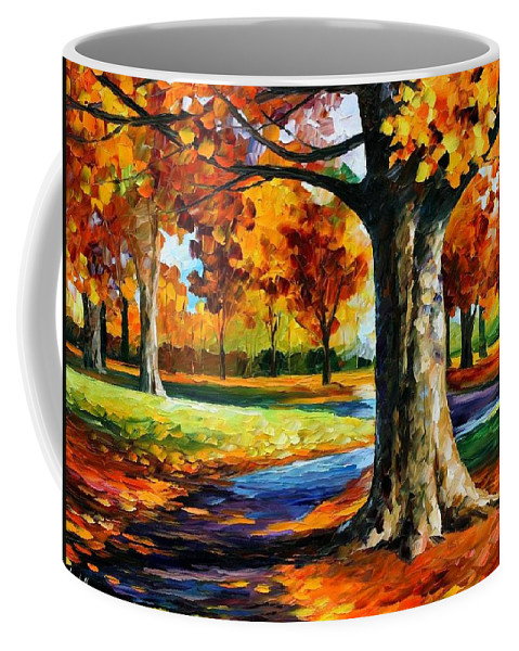 Afremov Coffee Mug featuring the painting Bristol Fall by Leonid Afremov