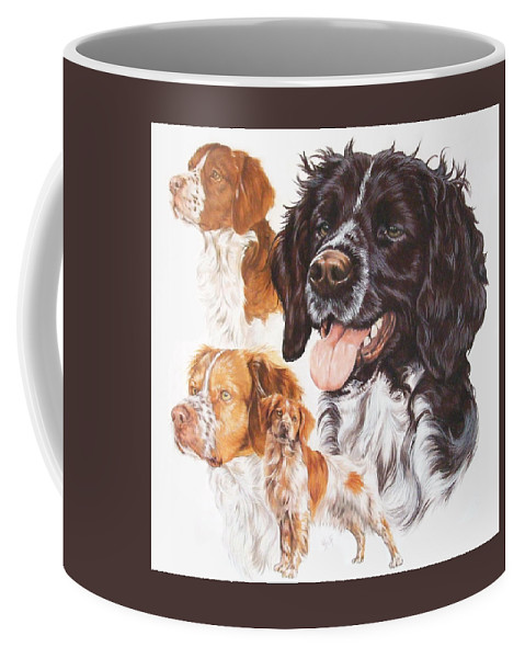 Sporting Group Coffee Mug featuring the mixed media Brittany Spaniel by Barbara Keith