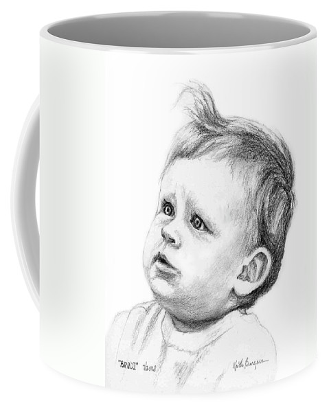 Portrait Coffee Mug featuring the drawing Brodi by Keith Burgess