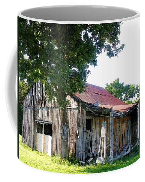 Barn Coffee Mug featuring the photograph Brokedown Barn by Nelson Strong