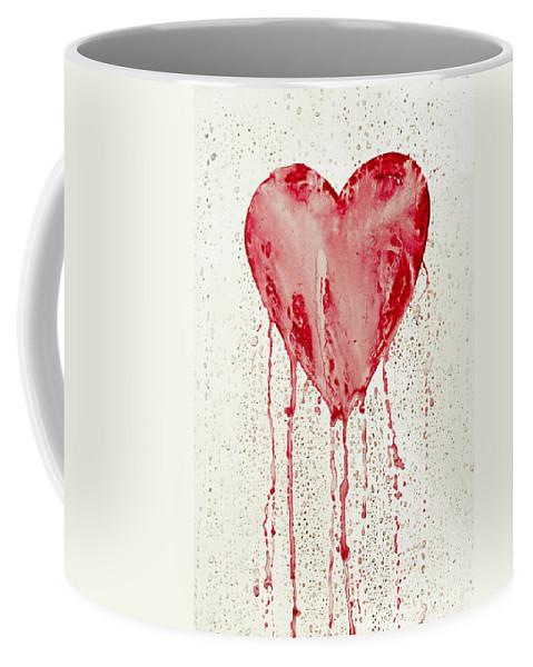Bleeding Coffee Mug featuring the painting Broken Heart - Bleeding Heart by Michal Boubin