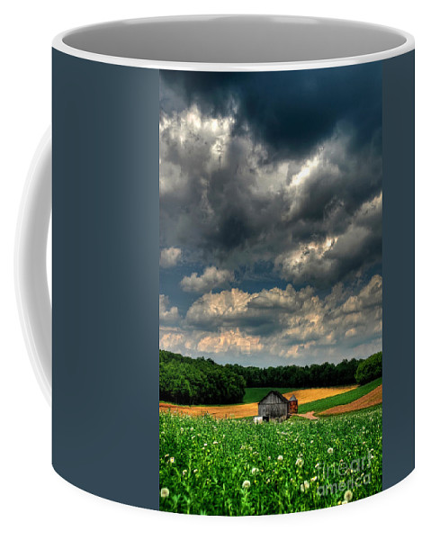 Old Barn Coffee Mug featuring the photograph Brooding Sky by Lois Bryan