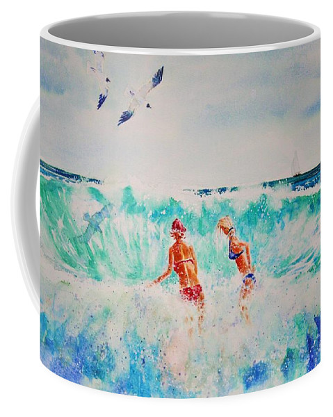 Surf Coffee Mug featuring the painting Brooke And Carey In The Shore Break by Tom Harris