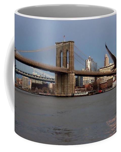 Brooklyn Bridge Coffee Mug featuring the photograph Brooklyn Bridge And Bird In Flight by Anita Burgermeister