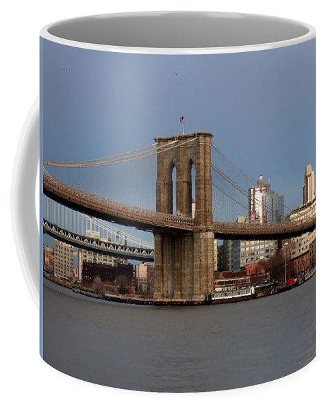 Brooklyn Bridge Coffee Mug featuring the photograph Brooklyn Bridge by Anita Burgermeister