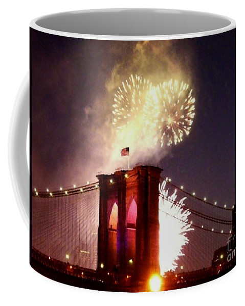 Brooklyn-bridge Coffee Mug featuring the photograph Brooklyn Bridge Celebration by Kendall Eutemey