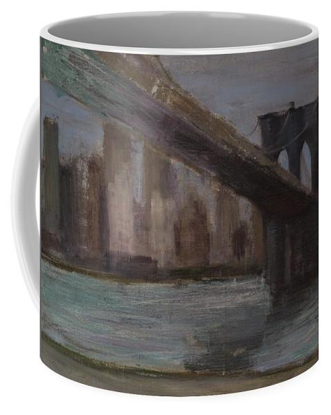 Brooklyn Bridge Coffee Mug featuring the painting Brooklyn Bridge Painting by Gail Eisenfeld