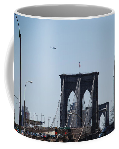 Architecture Coffee Mug featuring the photograph Brooklyn Bridge by Rob Hans