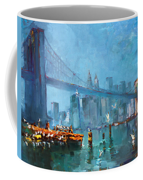 Landscape Coffee Mug featuring the painting Brooklyn Bridge by Ylli Haruni