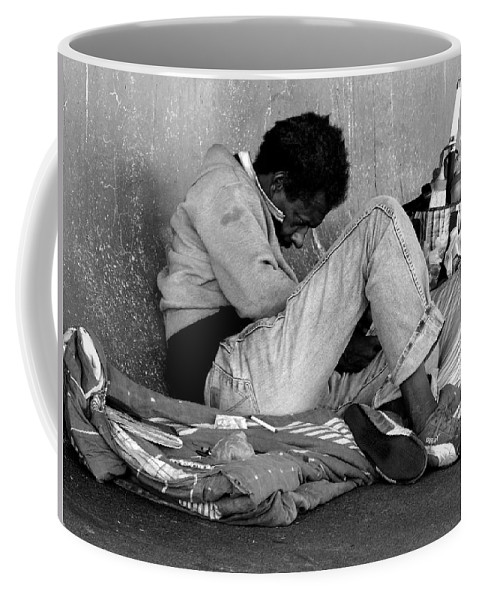 Homeless Coffee Mug featuring the photograph Brother Can You Spare A Dime by Kendall Eutemey