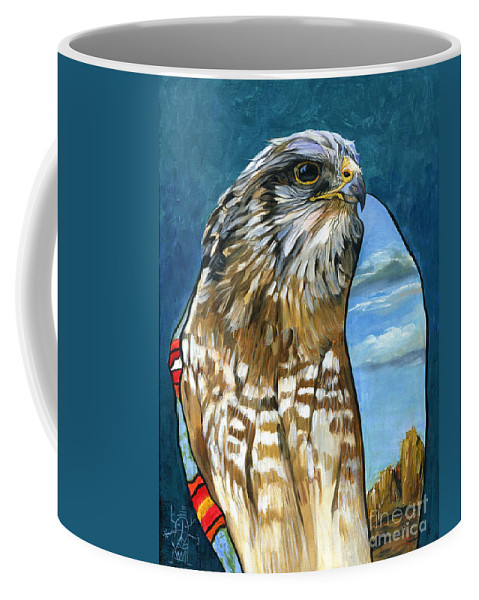 Hawk Coffee Mug featuring the painting Brother Hawk by J W Baker