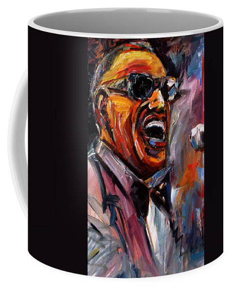 Jazz Art Coffee Mug featuring the painting Brother Ray by Debra Hurd