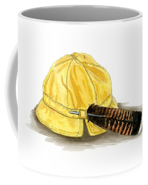 Hat Coffee Mug featuring the painting Brother Wolf - Grandmother's Hat by Brandy Woods