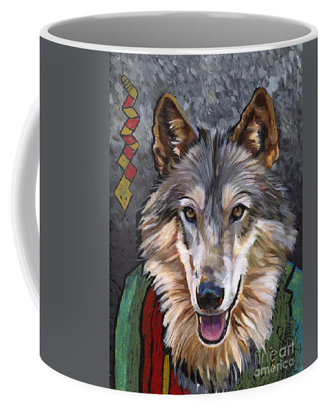 Wolf Coffee Mug featuring the painting Brother Wolf by J W Baker