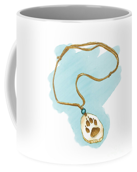 Art Coffee Mug featuring the painting Brother Wolf - The Necklace by Brandy Woods