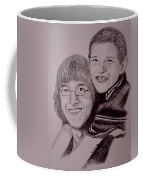 Portrait Coffee Mug featuring the drawing Brothers For Life by Glory Fraulein Wolfe
