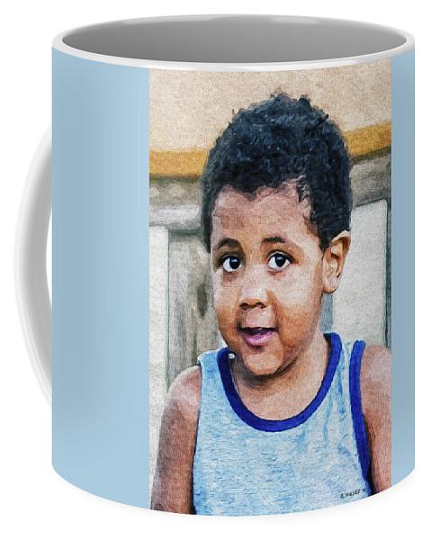 2d Coffee Mug featuring the photograph Brown Child - Paint Fx by Brian Wallace