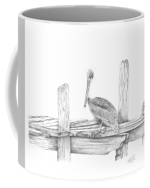 Pelican Coffee Mug featuring the drawing Brown Pelican by Patricia Hiltz