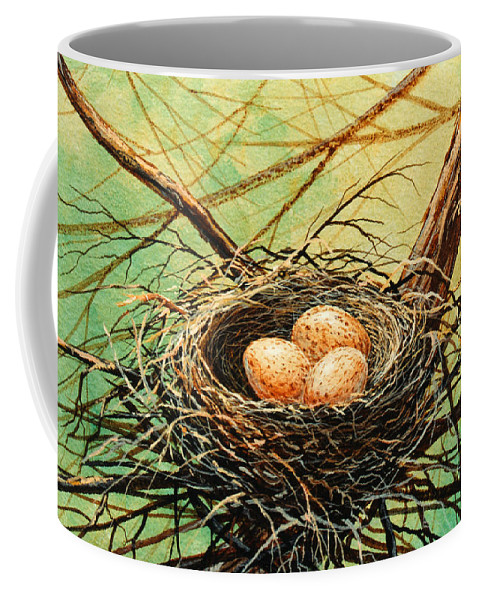 Wildlife Coffee Mug featuring the painting Brown Speckled Eggs by Frank Wilson