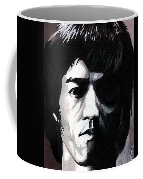 Bruce Lee Coffee Mug featuring the mixed media Bruce Lee Portrait by Alban Dizdari