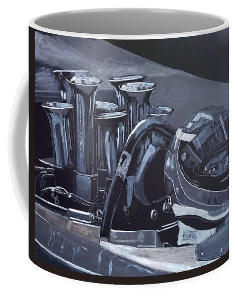 Car Coffee Mug featuring the painting Bruce Mclaren Canam by Richard Le Page