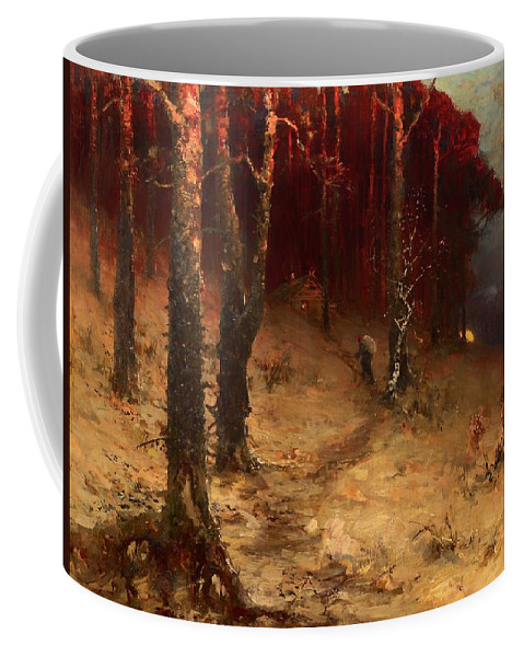 Painting Coffee Mug featuring the painting Brushwood Collector Bordering The Woods by Mountain Dreams