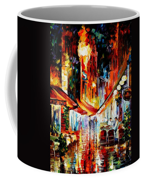 Afremov Coffee Mug featuring the painting Brussels - Before The Night Starts by Leonid Afremov