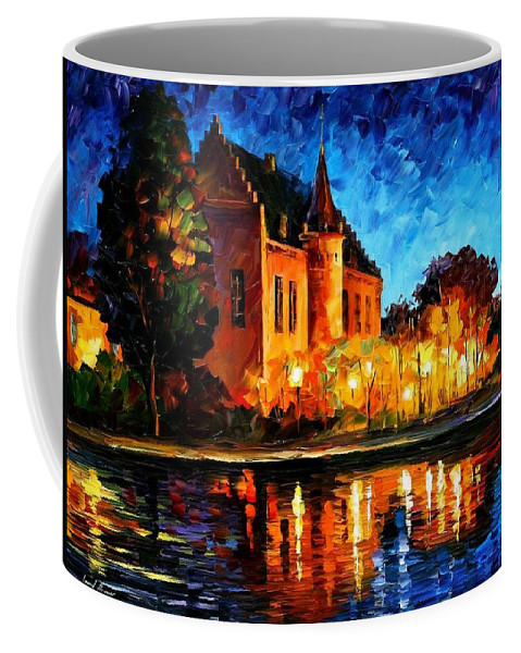 Afremov Coffee Mug featuring the painting Brussels - Castle Saventem by Leonid Afremov