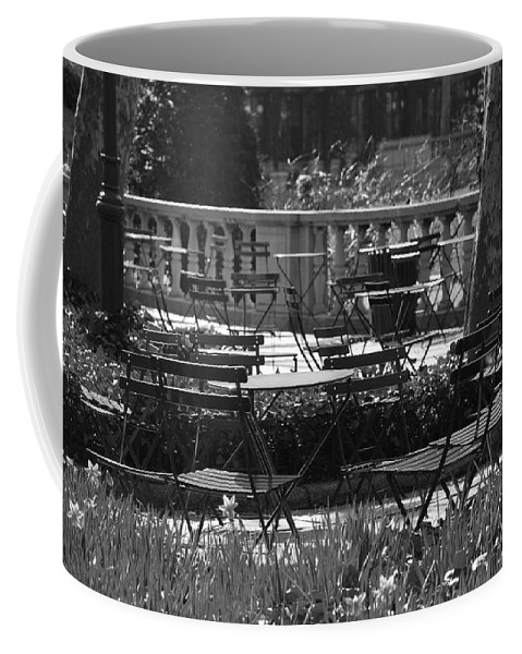 Black And White Coffee Mug featuring the photograph Bryant Park In Black And White by Rob Hans